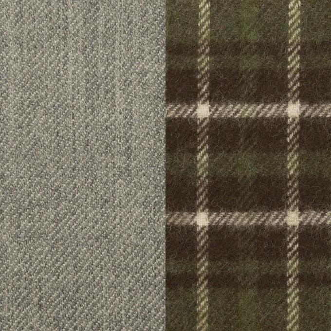 ウール×無地&チェック(グレー&カーキグリーン)×Wフェイスサージ イメージ1