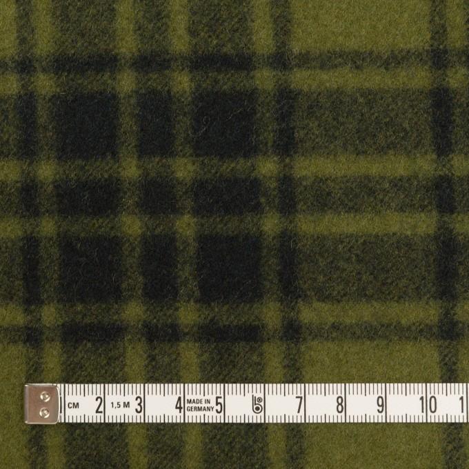 ウール&ナイロン×チェック(カーキグリーン&ブラック)×フラノ(フランネル) イメージ4