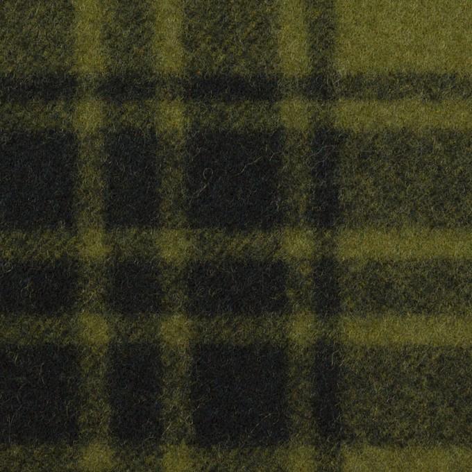 ウール&ナイロン×チェック(カーキグリーン&ブラック)×フラノ(フランネル) イメージ1