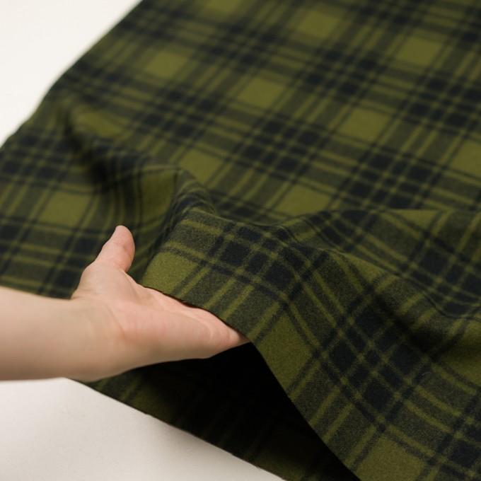 ウール&ナイロン×チェック(カーキグリーン&ブラック)×フラノ(フランネル) イメージ5