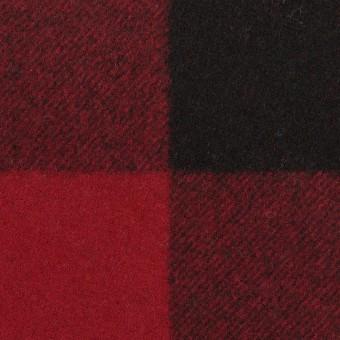 ウール×チェック(レッド&ブラック)×フラノ(フランネル)_全2色