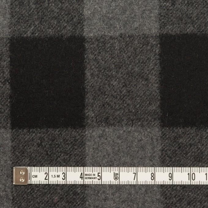 ウール×チェック(グレー&ブラック)×フラノ(フランネル)_全2色 イメージ4