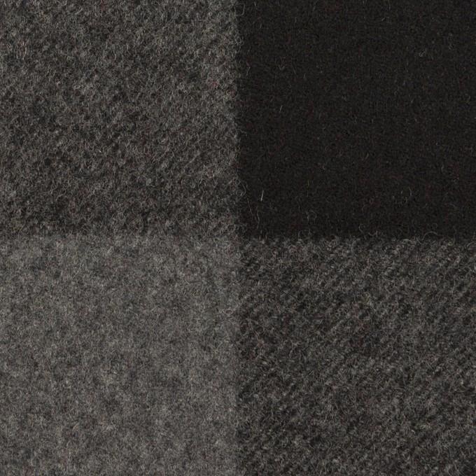 ウール×チェック(グレー&ブラック)×フラノ(フランネル)_全2色 イメージ1