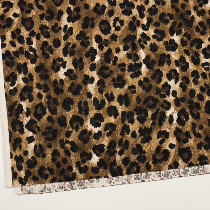 ポリエステル&ポリウレタン×レオパード(ブラウン&ブラック)×ジャガード・ストレッチ イメージ2