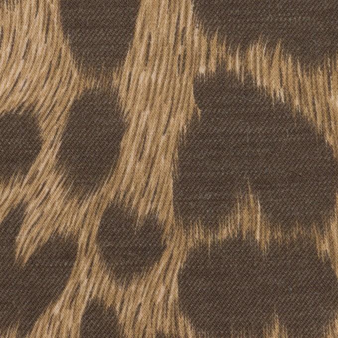 コットン&ポリエステル×レオパード(モカ&アッシュブラウン)×薄ビエラ イメージ1