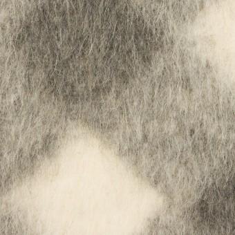 ウール&モヘア混×ダイヤ(グレー)×シャギーニット