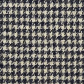 ウール&アクリル混×千鳥格子&無地(アイボリー、ネイビー&ネオンイエロー)×ツイード&フラノ(Wフェイス)_全2色