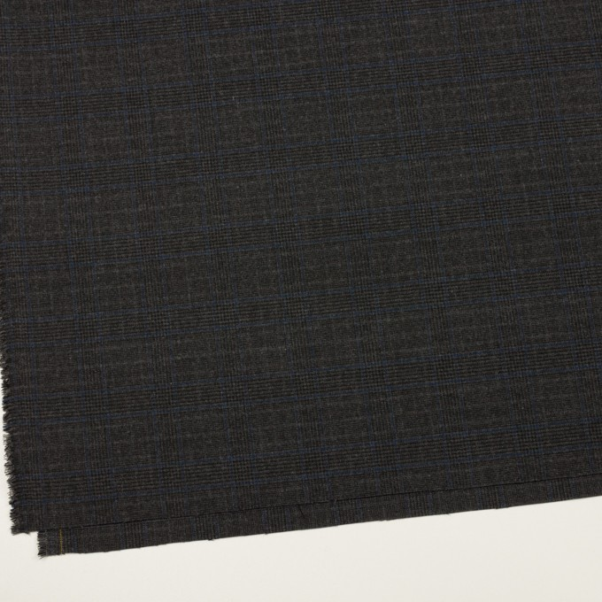 ポリエステル&レーヨン混×チェック(チャコール)×サージストレッチ イメージ2