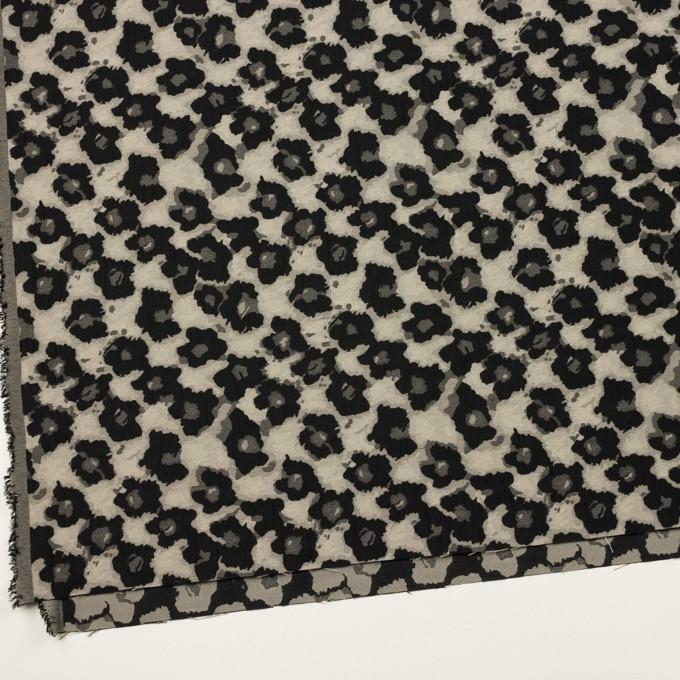 コットン&ポリエステル×フラワー(アイボリー&ブラック)×フクレジャガード イメージ2