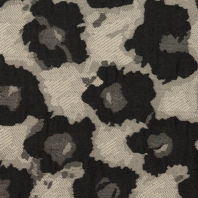 コットン&ポリエステル×フラワー(アイボリー&ブラック)×フクレジャガード イメージ1