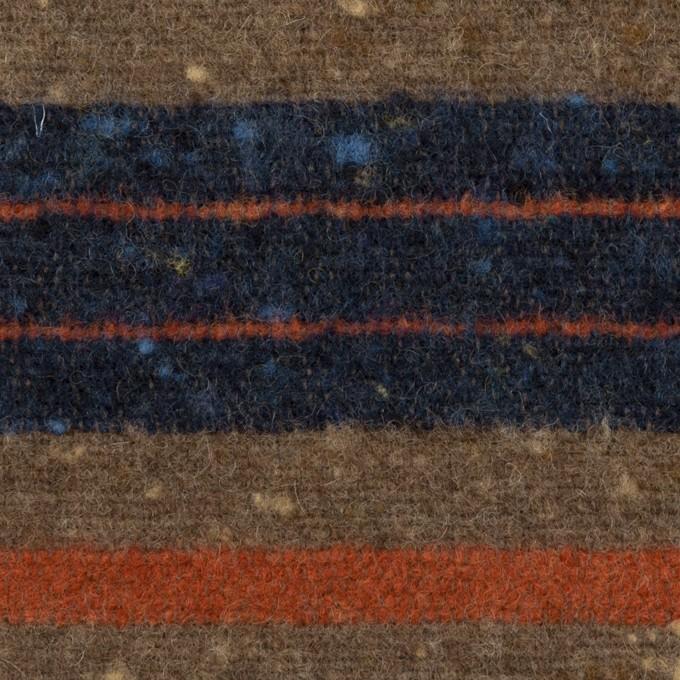 ウール&ポリエステル混×ボーダー(モカブラウン&ネイビー)×ツイード イメージ1