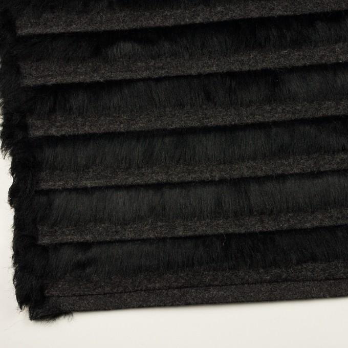 ポリエステル&ウール×ボーダー(ブラック)×シャギーニット_全2色 イメージ2