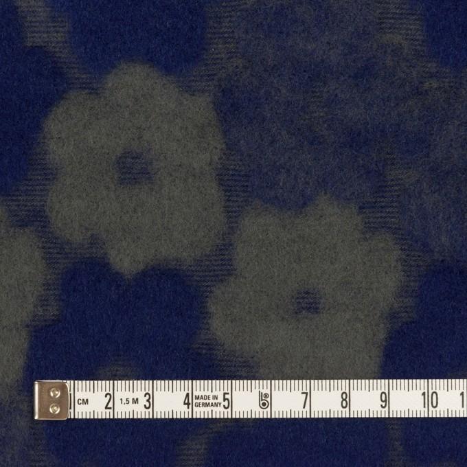 ポリエステル&アクリル混×フラワー(マリンブルー&アッシュカーキ)×ジャガードニット イメージ4