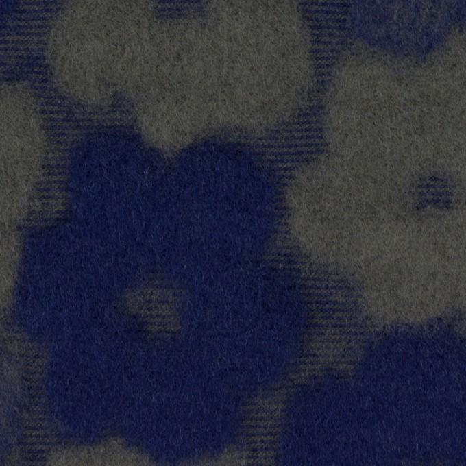 ポリエステル&アクリル混×フラワー(マリンブルー&アッシュカーキ)×ジャガードニット イメージ1