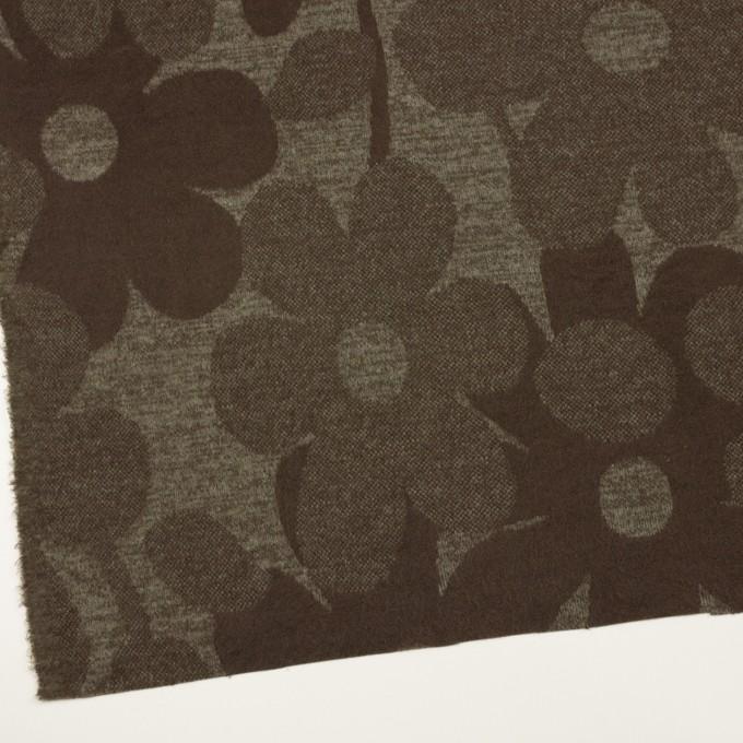 ウール&ポリエステル×フラワー(カーキ&アッシュブラウン)×ジャガードニット_全3色 イメージ2