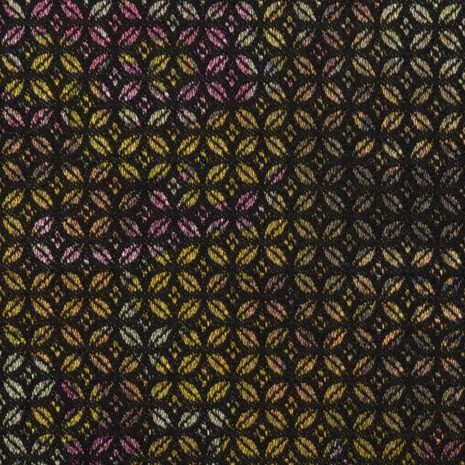 コットン&ポリエステル混×小紋(イエロー&パープル)×ジャガード・ストレッチ イメージ1