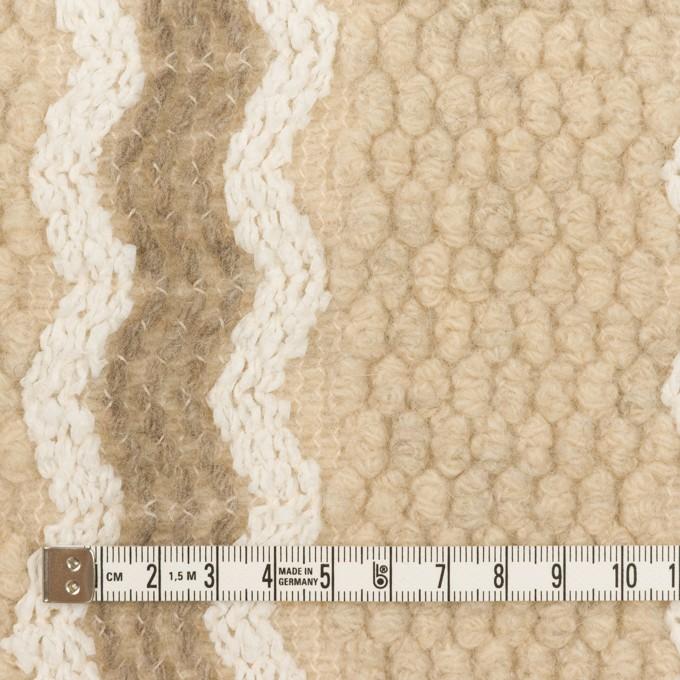 ウール&アクリル混×ストライプ(ベージュ、オフホワイト&モカ)×ジャガードニット イメージ4