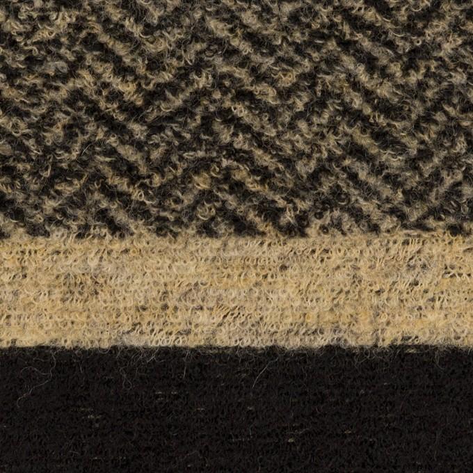 ウール&ポリエステル×ボーダー(ベージュ&ブラック)×ジャガードニット イメージ1