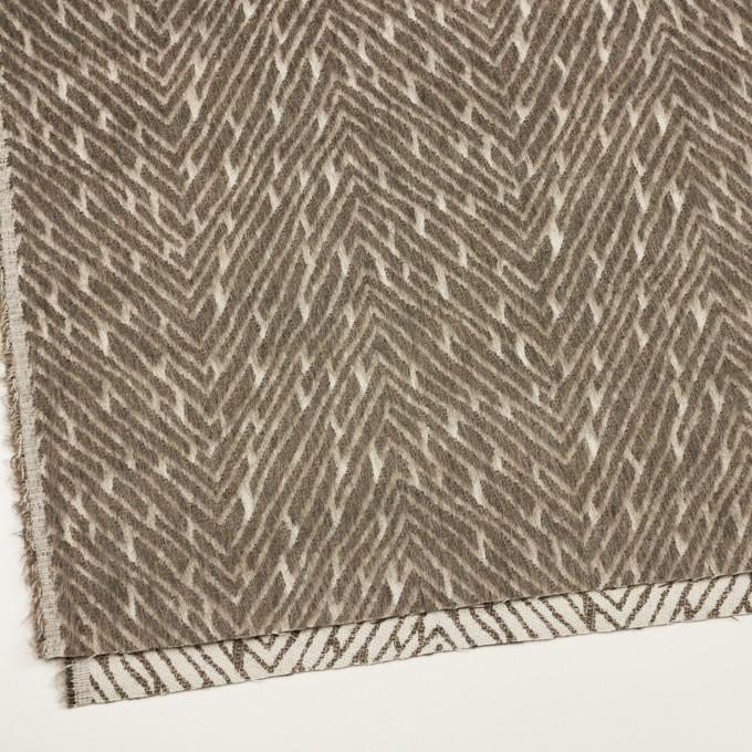 ウール&コットン混×幾何学模様(アッシュブラウン)×シャギー イメージ2