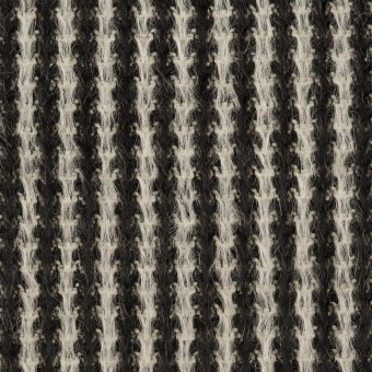 アンゴラ&ウール×ストライプ(ブラック&ホワイト)×シャギー サムネイル1