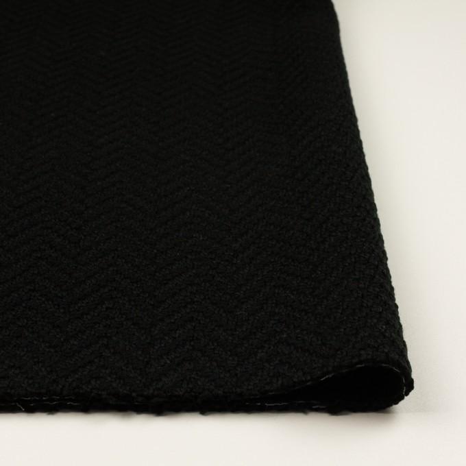 アクリル&ポリエステル混×無地(ブラック)×斜子織 イメージ3