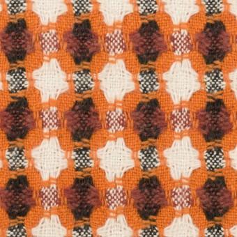 コットン&ポリエステル×フラワー(オレンジ)×ドビー_全3色