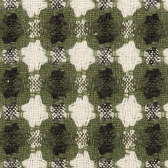 コットン&ポリエステル×フラワー(グリーン)×ドビー_全3色