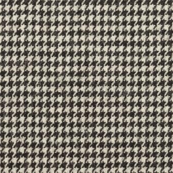 ウール&ポリウレタン×チェック(アイボリー&ブラック)×千鳥格子ストレッチ