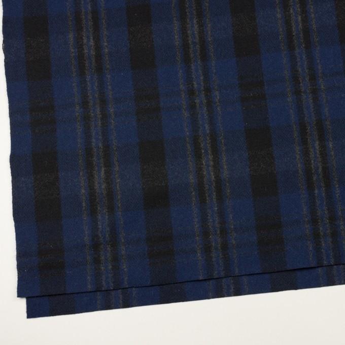 ウール&ナイロン×チェック(マリンブルー&ブラック)×ツイード イメージ2