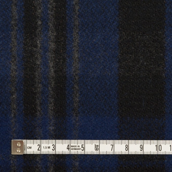 ウール&ナイロン×チェック(マリンブルー&ブラック)×ツイード イメージ4