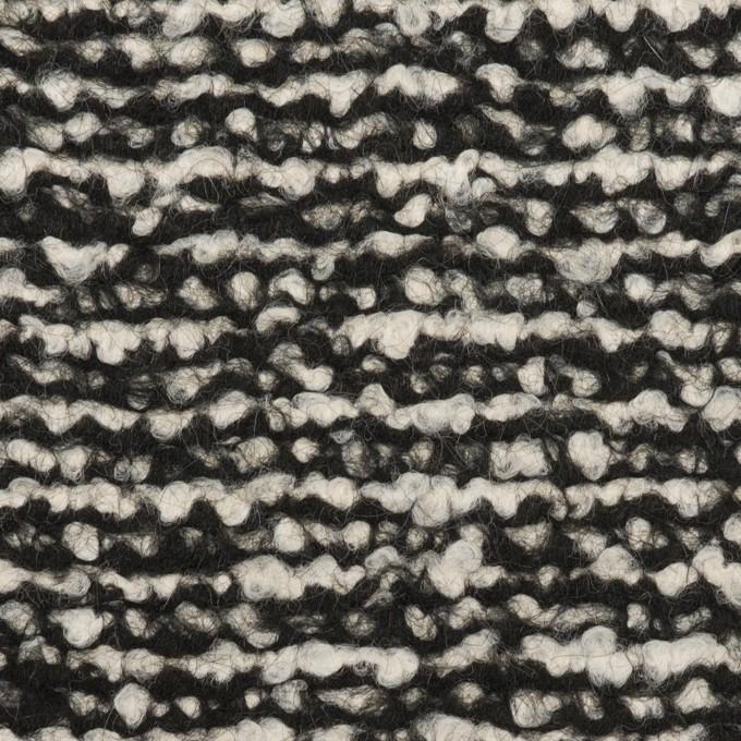 ウール&モヘア混×ミックス(アイボリー&ブラック)×ファンシーニット_イタリア製 イメージ1