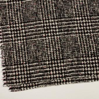 コットン&ウール混×チェック(キナリ、ブラック&チェリー)×ファンシーツイード サムネイル2