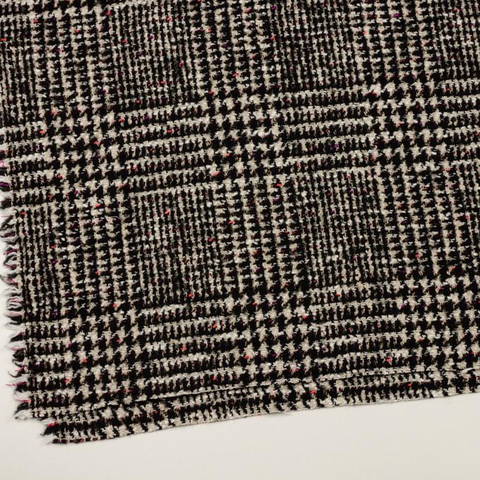 コットン&ウール混×チェック(キナリ、ブラック&チェリー)×ファンシーツイード イメージ2
