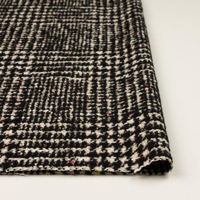コットン&ウール混×チェック(キナリ、ブラック&チェリー)×ファンシーツイード イメージ3
