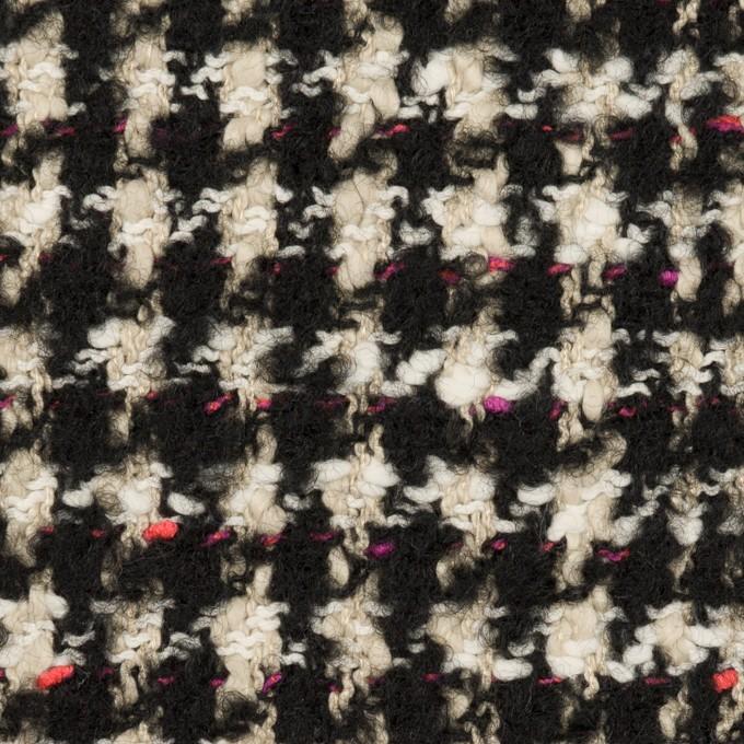 コットン&ウール混×チェック(キナリ、ブラック&チェリー)×ファンシーツイード イメージ1