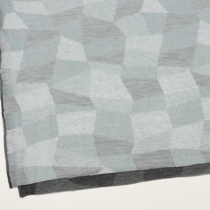 ポリエステル&アクリル×幾何学模様(ブルーグレー)×ジャガードニット イメージ2