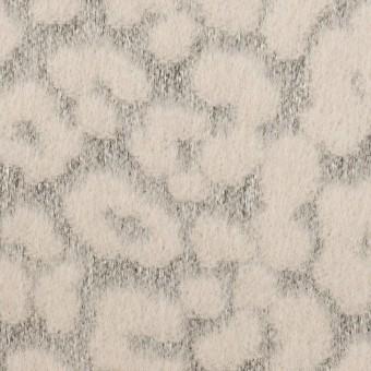 ウール&ポリエステル×レオパード(ピンクベージュ&グレー)×ジャガード サムネイル1