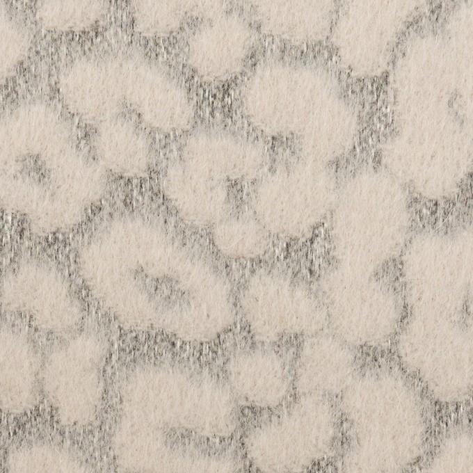 ウール&ポリエステル×レオパード(ピンクベージュ&グレー)×ジャガード イメージ1