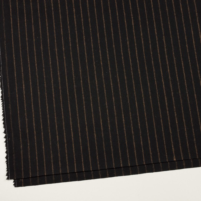 ウール&ポリウレタン×ストライプ(ブラック&キャメル)×ツイードストレッチ イメージ2