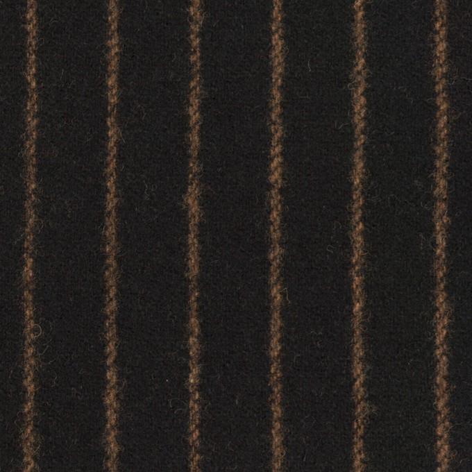 ウール&ポリウレタン×ストライプ(ブラック&キャメル)×ツイードストレッチ イメージ1