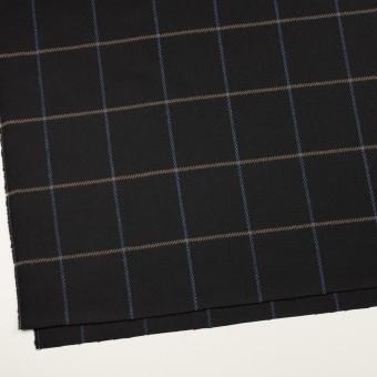 ウール×チェック(ブラック、オークル&ブルー)×サキソニー サムネイル2