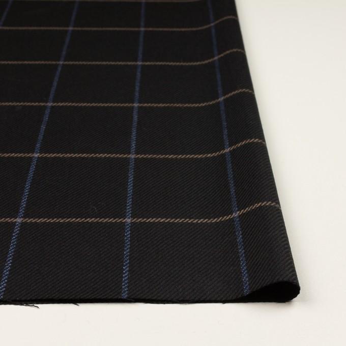 ウール×チェック(ブラック、オークル&ブルー)×サキソニー イメージ3
