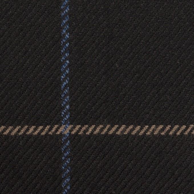 ウール×チェック(ブラック、オークル&ブルー)×サキソニー イメージ1