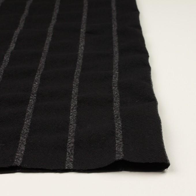 ウール×ストライプ(ブラック&チャコールグレー)×ガーゼ イメージ3