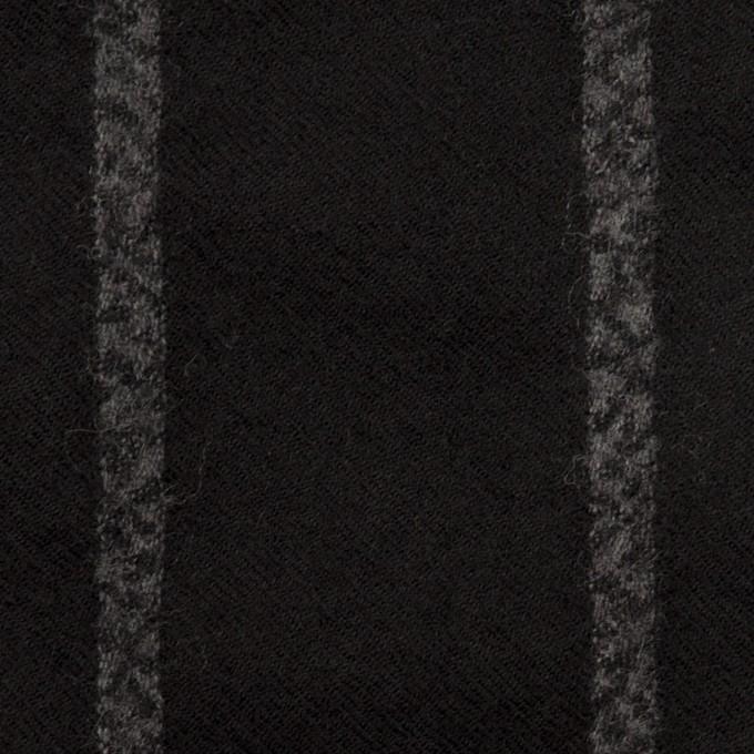 ウール×ストライプ(ブラック&チャコールグレー)×ガーゼ イメージ1
