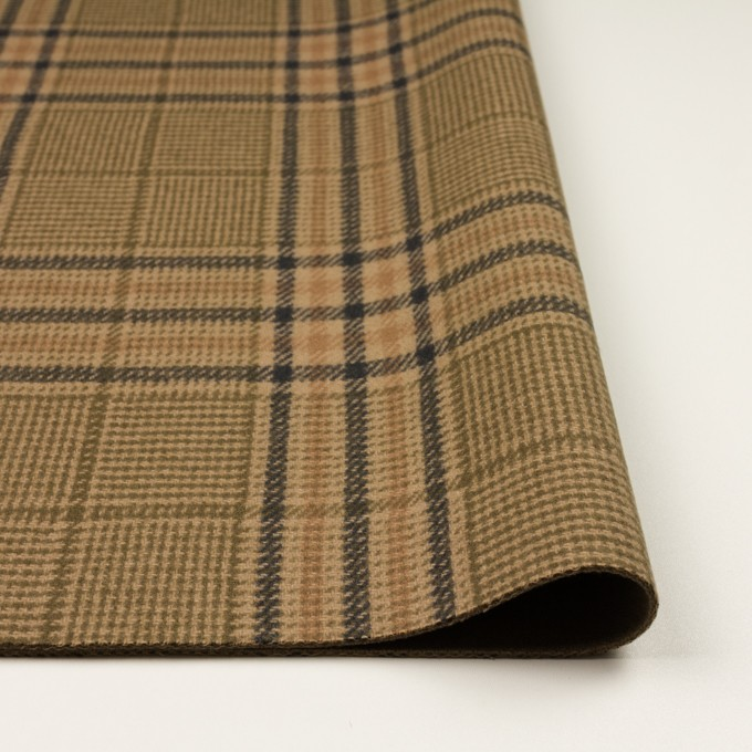 ウール×チェック(ベージュ、モカ&カーキグリーン)×かわり織 イメージ3