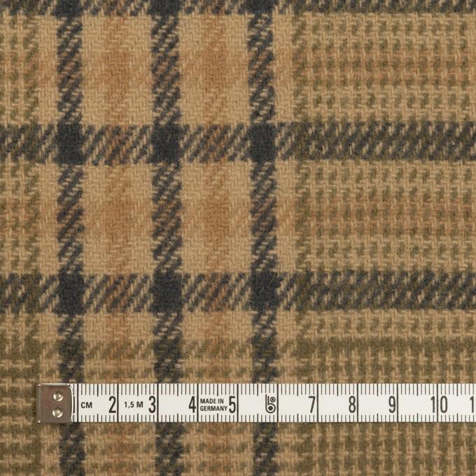 ウール×チェック(ベージュ、モカ&カーキグリーン)×かわり織 イメージ4