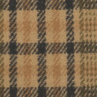 ウール×チェック(ベージュ、モカ&カーキグリーン)×かわり織