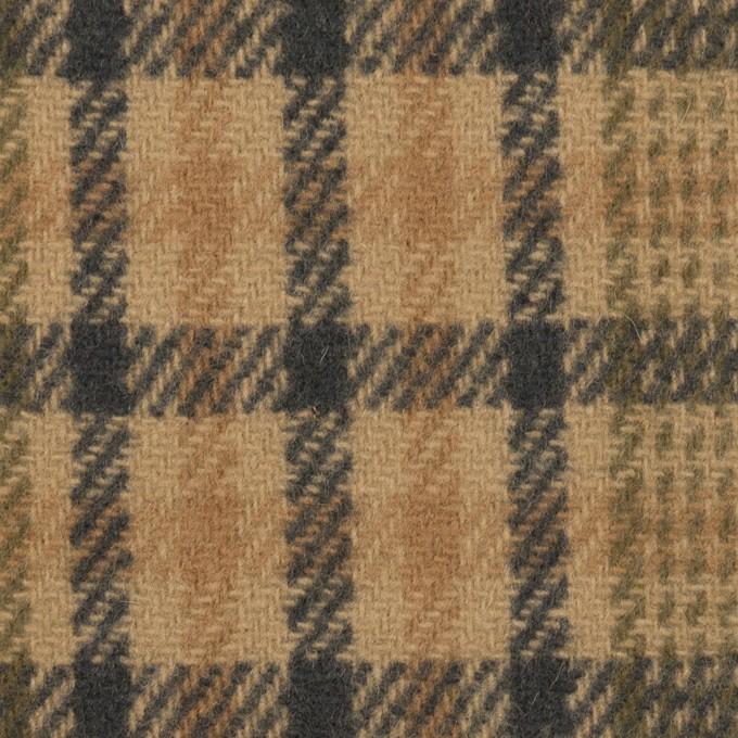 ウール×チェック(ベージュ、モカ&カーキグリーン)×かわり織 イメージ1