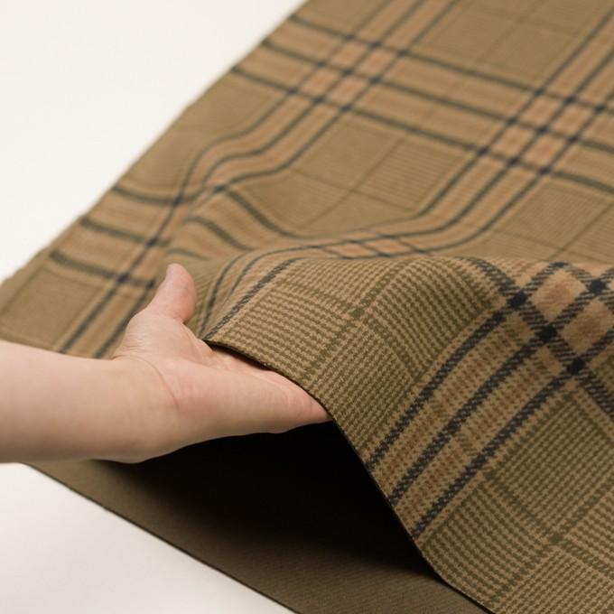 ウール×チェック(ベージュ、モカ&カーキグリーン)×かわり織 イメージ5